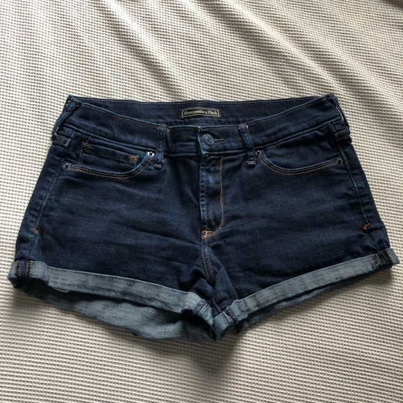 Abercrombie & Fitch Pants - Abercrombie & Fitch |  Dark Wash Cuffed Shorts